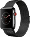 Apple - Apple Watch Series 3 (GPS + Cellular), 42mm Space Black Stainless Steel Case with Space Black Milanese Loop - Space Black Stainless Steel-