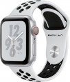 Apple - Apple Watch Nike+ Series 4 (GPS + Cellular), 40mm Silver Aluminum Case with Pure Platinum/Black Nike Sport Band - Silver Aluminum