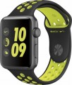 Apple - Apple Watch Nike+ 42mm Space Gray Aluminum Case Black/Volt Nike Sport Band - Space Gray Aluminum