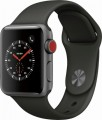 Apple - Geek Squad Certified Refurbished Apple Watch Series 3 (GPS + Cellular), 38mm with Gray Sport Band - Space Gray Aluminum