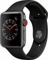 Apple - Apple Watch Series 3 (GPS + Cellular), 42mm Space Gray Aluminum Case with Black Sport Band - Space Gray Aluminum -5979493