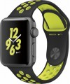 Apple - Apple Watch Nike+ 38mm Space Gray Aluminum Case Black/Volt Nike Sport Band - Space Gray Aluminum