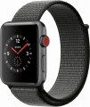 Apple - Apple Watch Series 3 (GPS + Cellular), 42mm Space Gray Aluminum Case with Dark Olive Sport Loop - Space Gray Aluminum