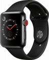 Apple - Geek Squad Certified Refurbished Apple Watch Series 3 (GPS + Cellular), 42mm with Black Sport Band - Space Black Stainless Steel