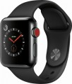 Apple - Geek Squad Certified Refurbished Apple Watch Series 3 (GPS + Cellular), 38mm with Black Sport Band - Space Black Stainless Steel
