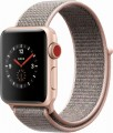 Apple - Apple Watch Series 3 (GPS + Cellular), 38mm Gold Aluminum Case with Pink Sand Sport Loop - Gold Aluminum