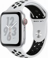 Apple - Apple Watch Nike+ Series 4 (GPS + Cellular), 44mm Silver Aluminum Case with Pure Platinum/Black Nike Sport Band - Silver Aluminum