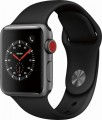 Apple - Geek Squad Certified Refurbished Apple Watch Series 3 (GPS + Cellular), 38mm with Black Sport Band - Space Gray Aluminum